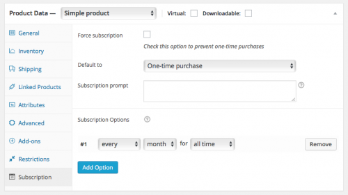 Added a single subscription option: every month for all time