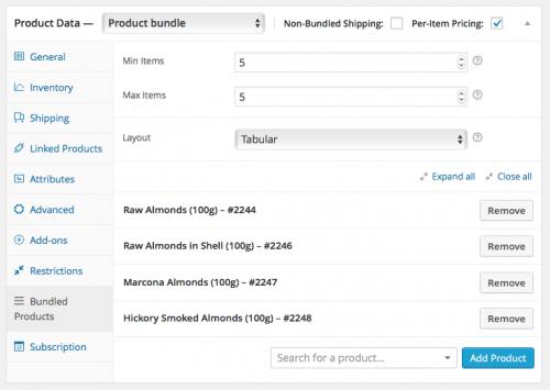 Setting up the Almonds Mix subscription bundle.