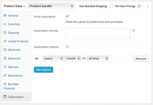 Setting up the Almonds Mix subscription bundle: The Subscription tab.