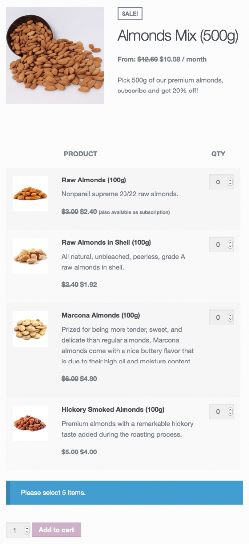 A pick 'n mix almonds subscription.